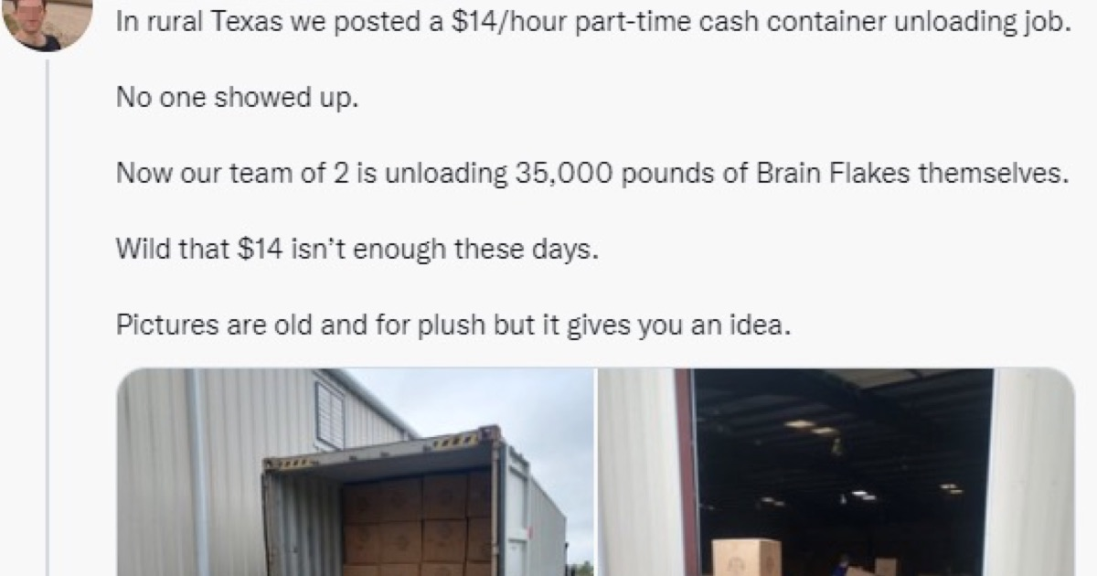 A firm complained that no-one would work for $14/hour and the comeback was top dollar - the poke